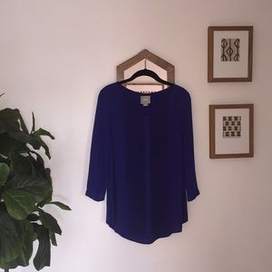 Blue Maeve blouse with lace detail